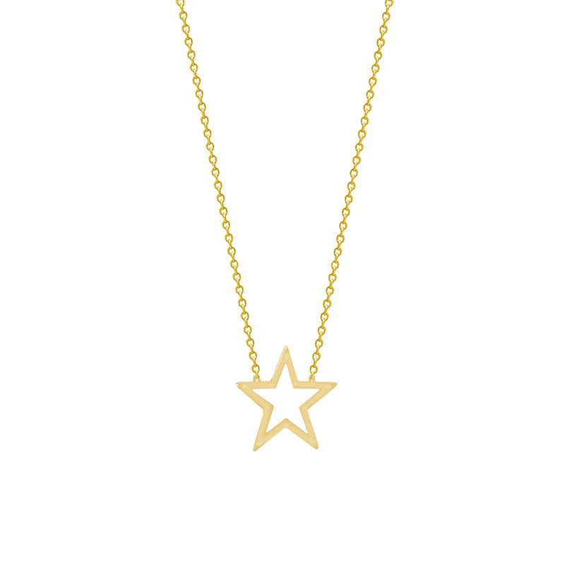 New Yellow Gold Open Star Necklace