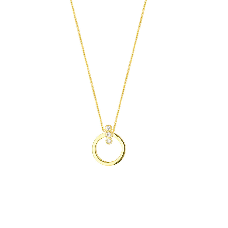 New Yellow Gold Three Diamond Open Circle Necklace