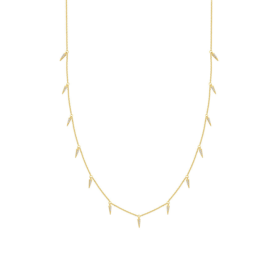 New Yellow Gold 15 Station Diamond Necklace
