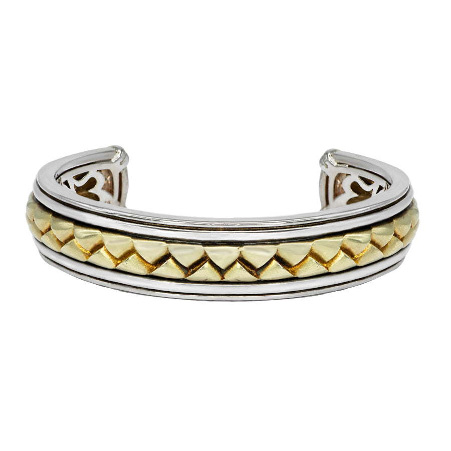 Scott Kay Sterling Silver & Yellow Gold Basket Weave Cuff