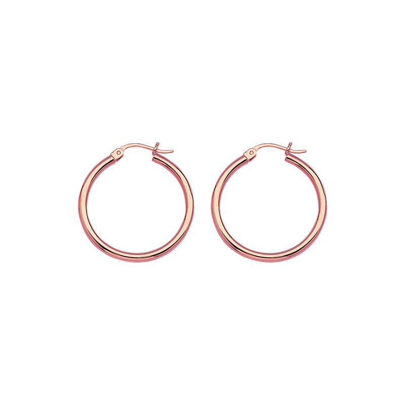 Rose Gold Polished Hoops 25mm