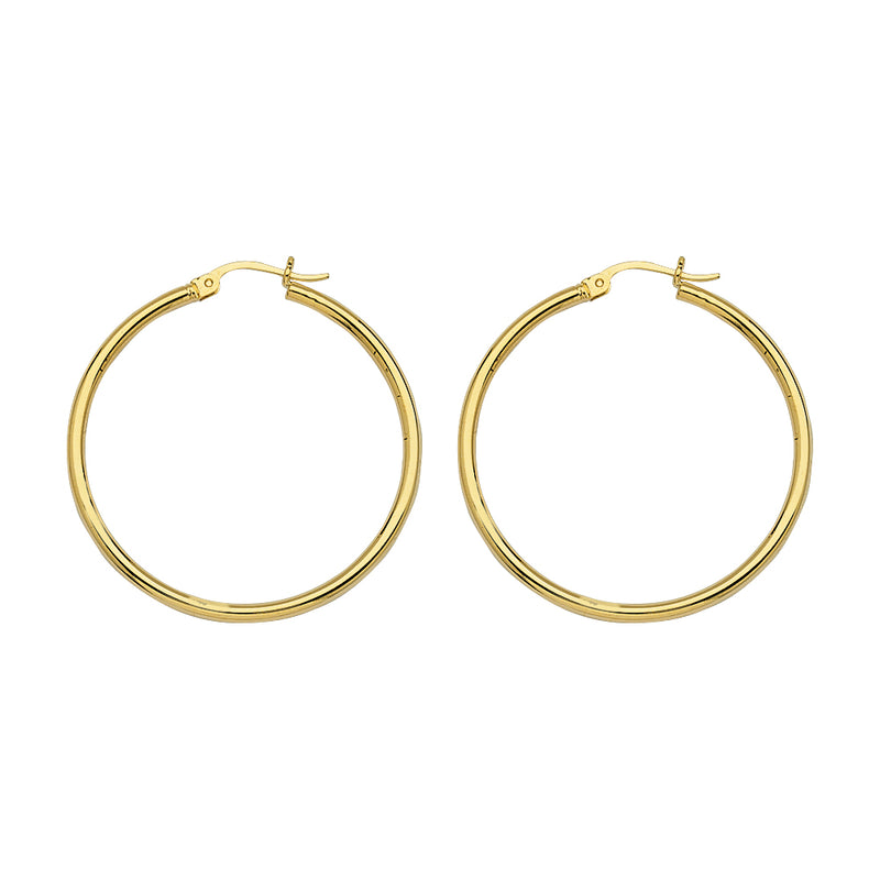Yellow Gold Polished Hoops 35mm