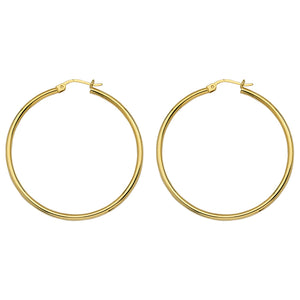 Yellow Gold Polished Hoops 40mm
