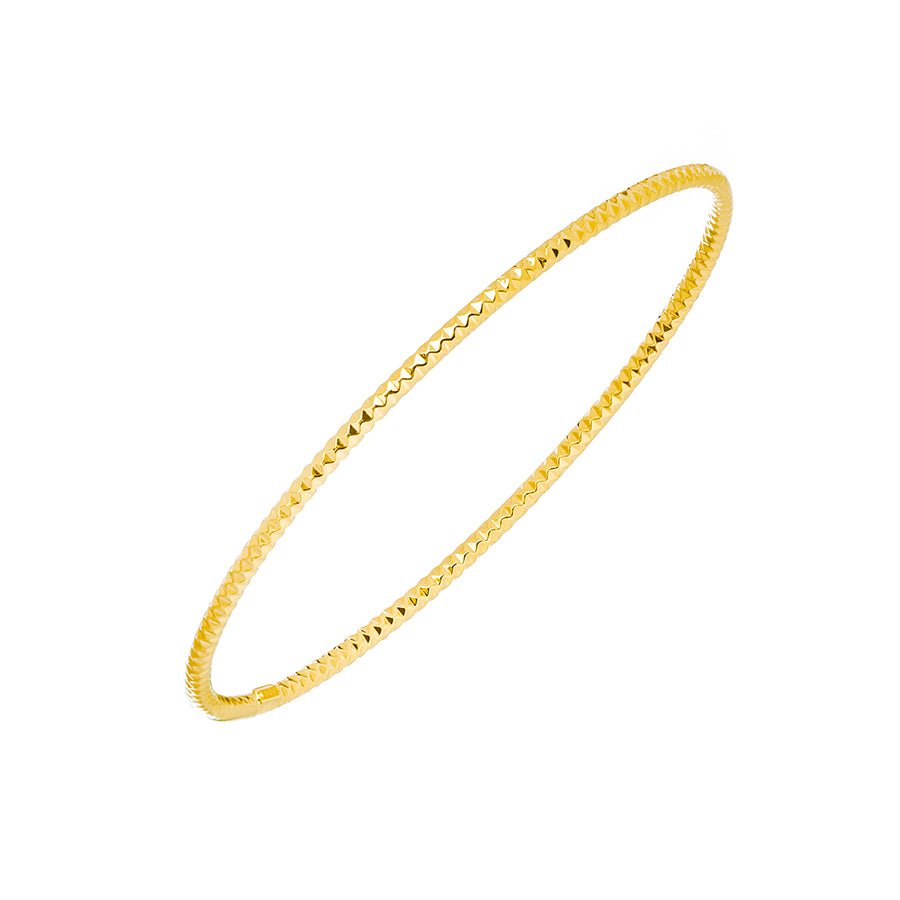 New Yellow Gold Textured Stackable Bangle