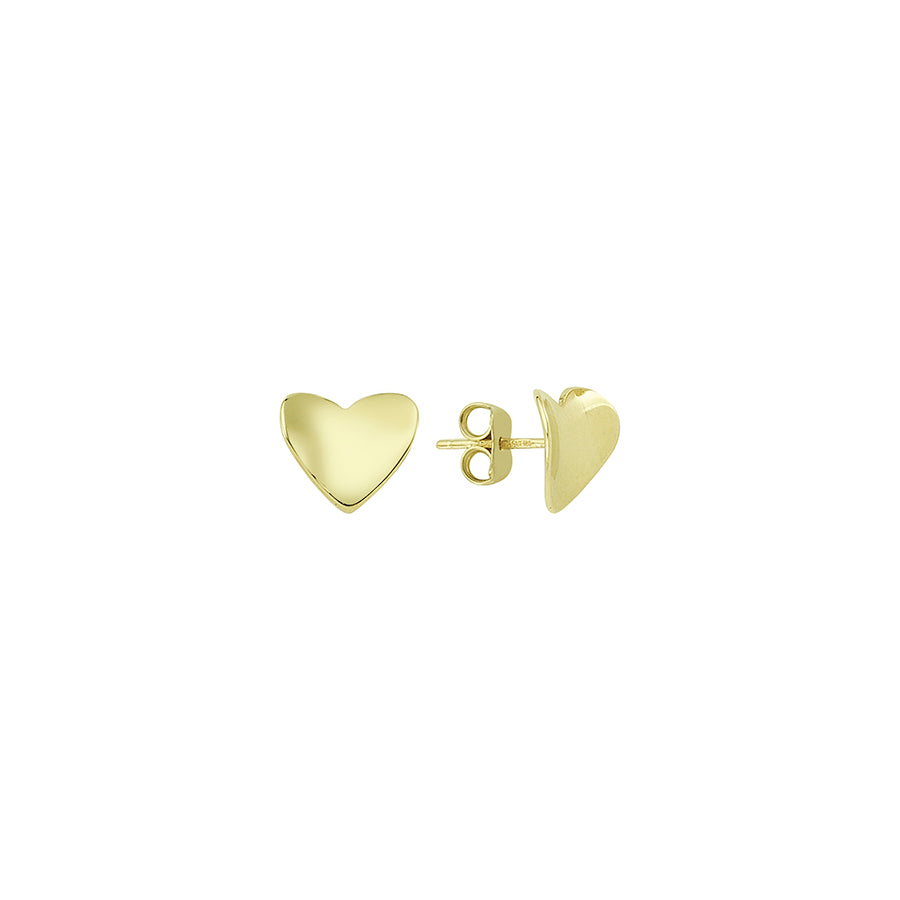 New Yellow Gold Concave Heart Studs