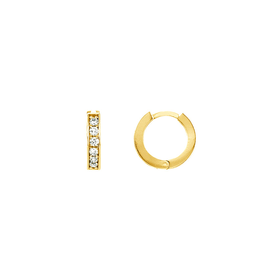 Yellow Gold Diamond 10mm Huggie Earrings