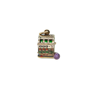 Yellow Gold Vintage Slot Machine Charm
