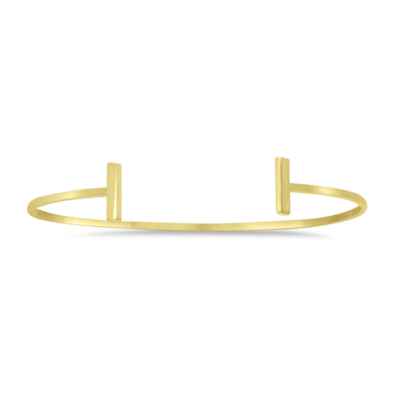 New Yellow Gold Staple Bar Cuff Bangle Bracelet