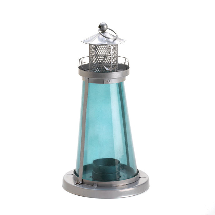 Blue Glass  Watch Tower Candle