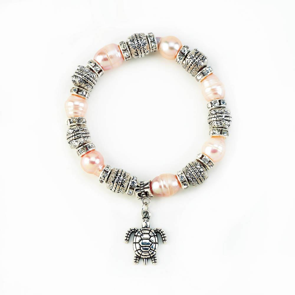 Pink Pearl with Turtle Stretch Bracelet