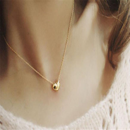 SUSENSTONE New Romantic Heart Shape Body Jewelry Statement Chain Pendant Necklace Jewelry Bijoux Femme Colar Gargantilha
