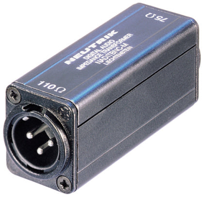 Neutrik NADITBNC-M Female BNC 75 Ω input - male XLR chassis connector 110 Ω output