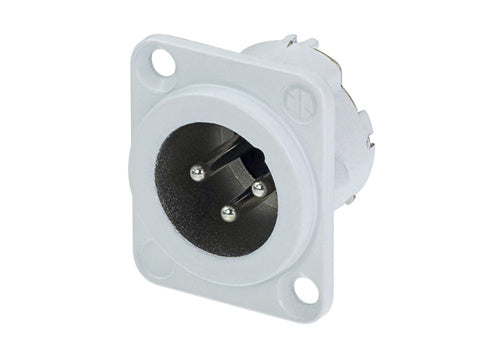 Neutrik NC3MD-LX-WT XLR 3Pole receptacle, male, White Housing, Silver Contacts (100 pcs)