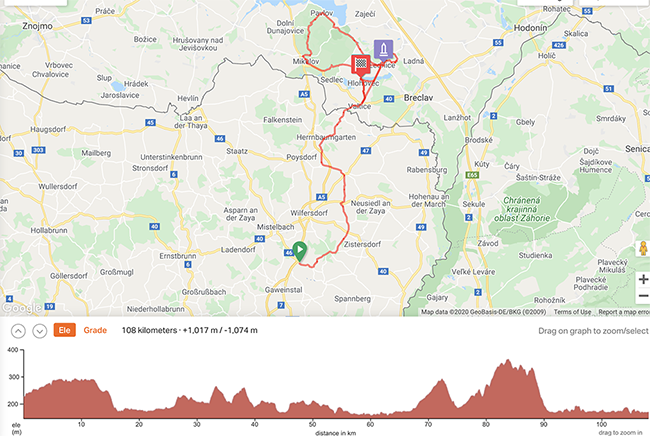Cycling Tour Vienna to Prague Map Day 1 and 2