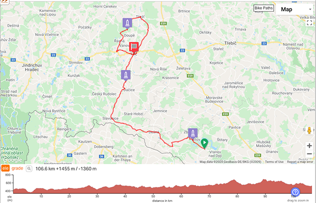 Cycling Tour Czech Republic Maps Day 3 and 4 Hlolovec - Telc