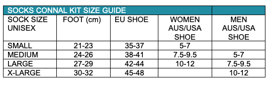 Size Guide Cycling Socks Mens Womens Connal Kit