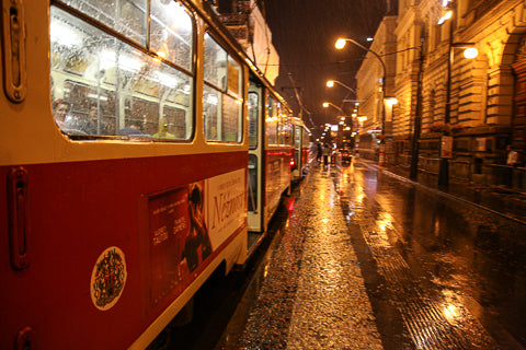 Prague Czech trams on a stormy night cycling tour Connal Kit