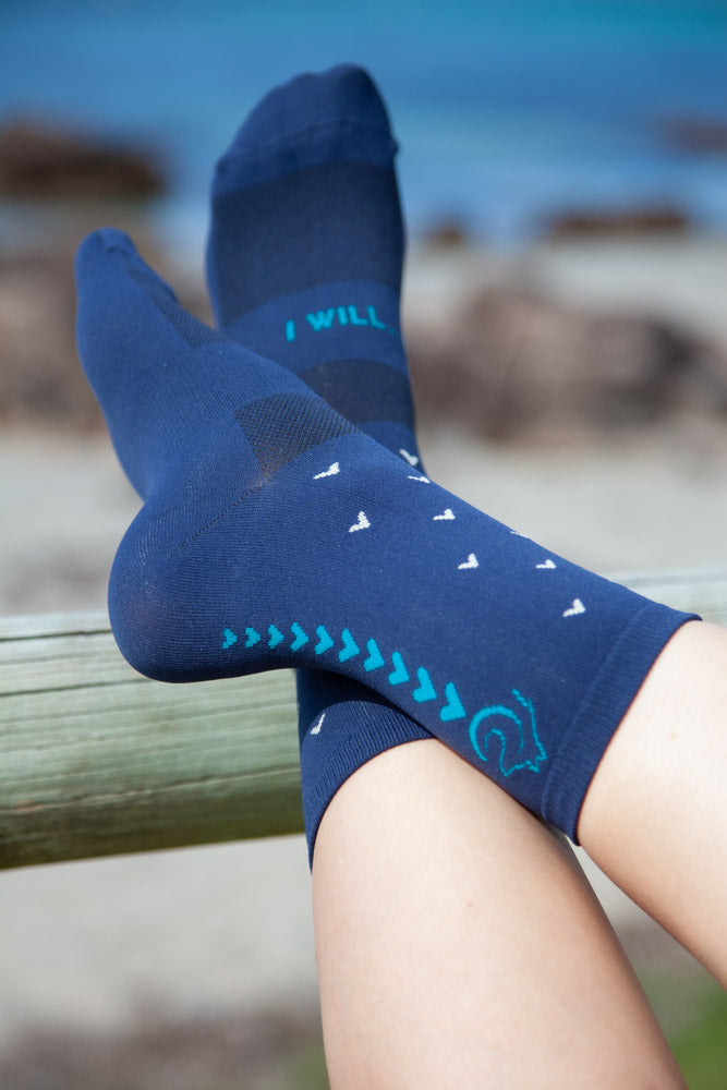 Connal Kit Cycling Socks Ocean Deep I Will Motivation