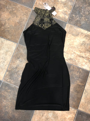 Black Dress with Gold Detailing