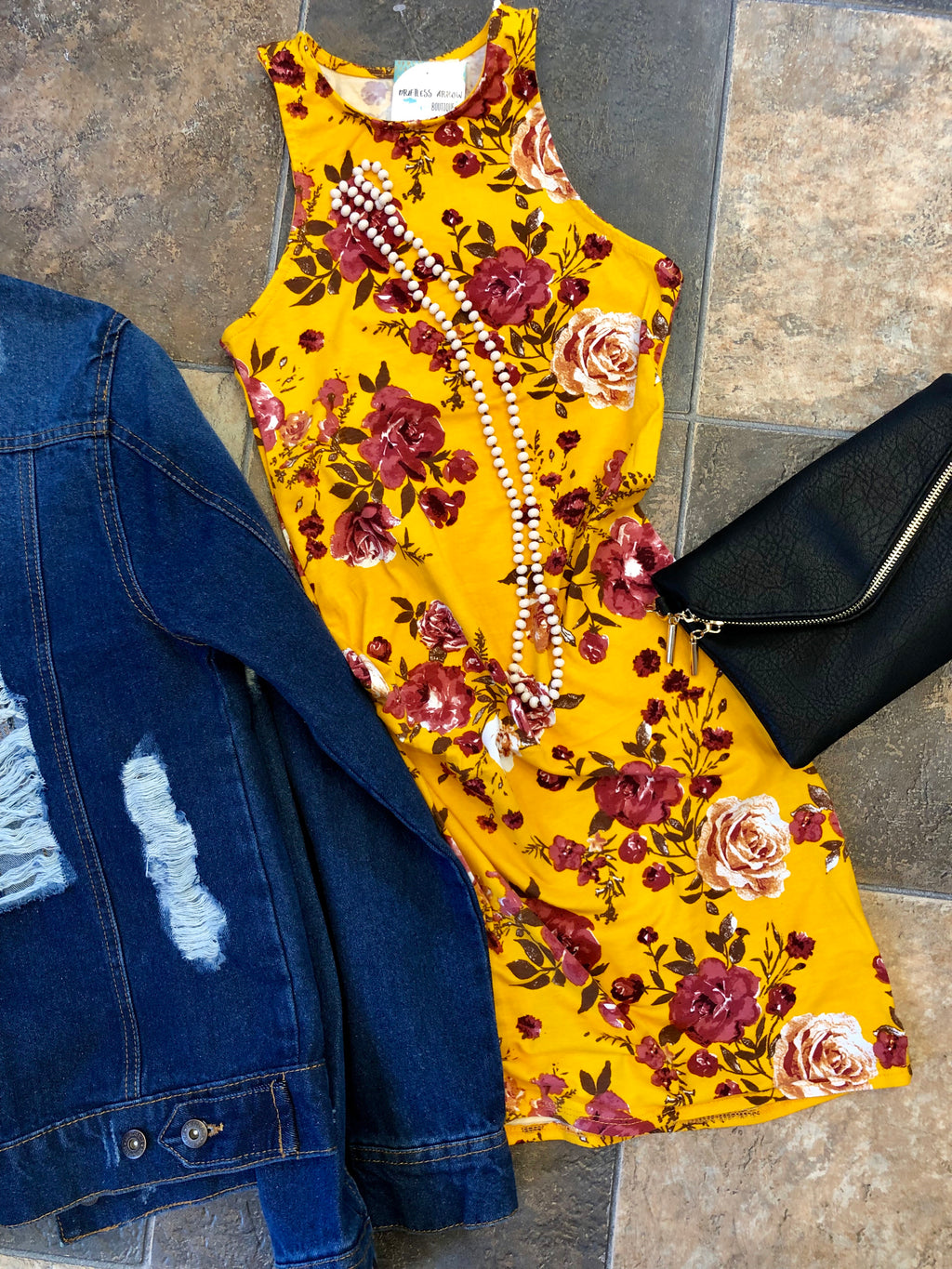Golden Yellow Floral Dress
