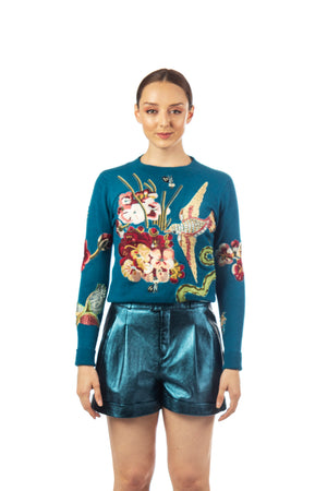 Sweater with Birds Embroidered