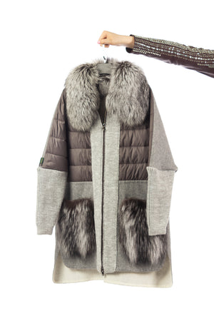 Silver Fox Mixed Media Coat