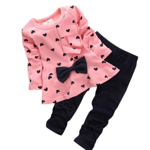 Baby Girls clothing Sets Heart-shaped Print Bow Cute 2PCS Kids Set T shirt + Pants Love Bowknot Girls Clothing Set