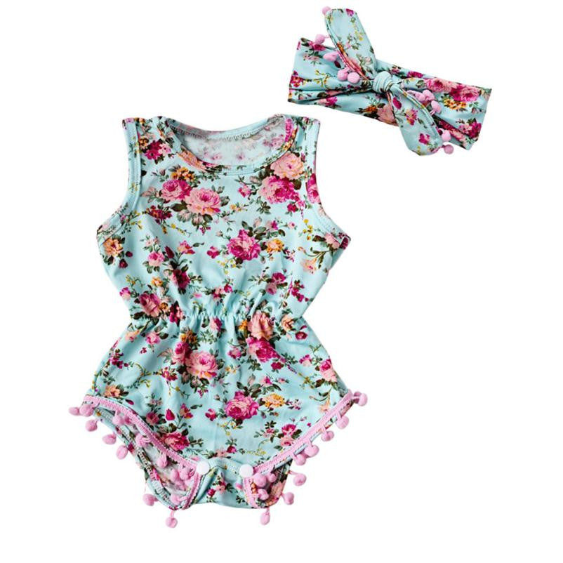 Newborn Toddler Baby Girls Floral Romper Jumpsuit Sunsuit Clothes Set Girls flower print baby GIRLR Romper With Tiara