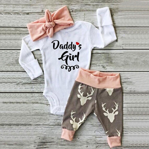girls 2 piece set outfit Newborn Baby Girl Romper Bodysuit+Pants Hairband Clothes Outfits Set drop shipping