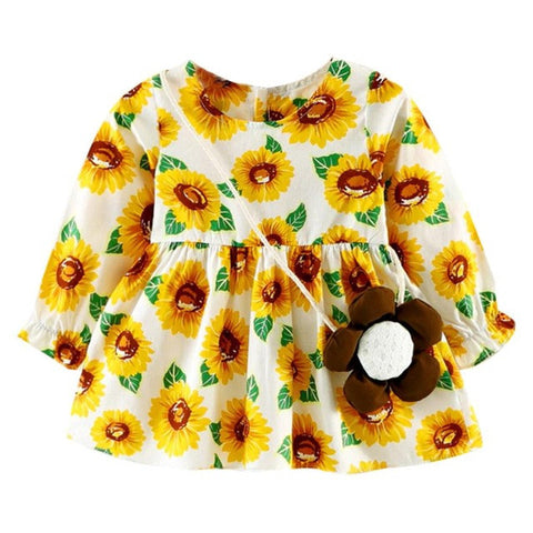 Girls dress Toddler Baby Girls Long Sleeve Flower Dress With Bag Princess Casual Dresses drop shipping