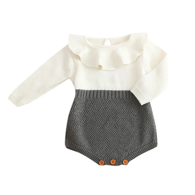 Kids Girls Romper long sleeve Baby Knitted Sweater Winter Princess Romper Jumpsuit Baby Clothes drop ship