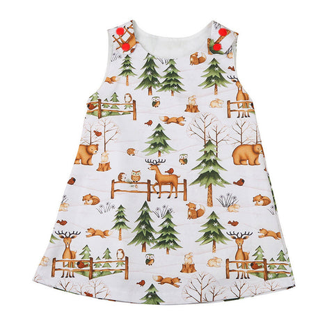 Girls dresses summer 2017 Toddler Baby Infant Girls Woodlands Cartoon Princess Dress Outfits Clothes drop shipping