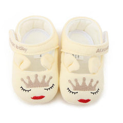 2017 Cute Baby Girls First walkers Shoes Cotton Cartoon Crown Soft with Pattern Shading Soft Sole Baby Toldder Prewalkers Shoes