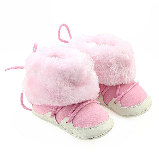 2017 Newborn Baby Boys Girls Shoes Winter Prewalkers Soft Sole Boots Shoes Infant Toddler Kids Faux Fur Lace Boots Crib Booty