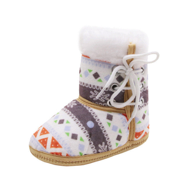 Winter Warm Baby Soft Soled Crib Shoes Toddler Newborn Baby Print Snow Boots Sneakers Soft Sole Boots Warm Shoes winter