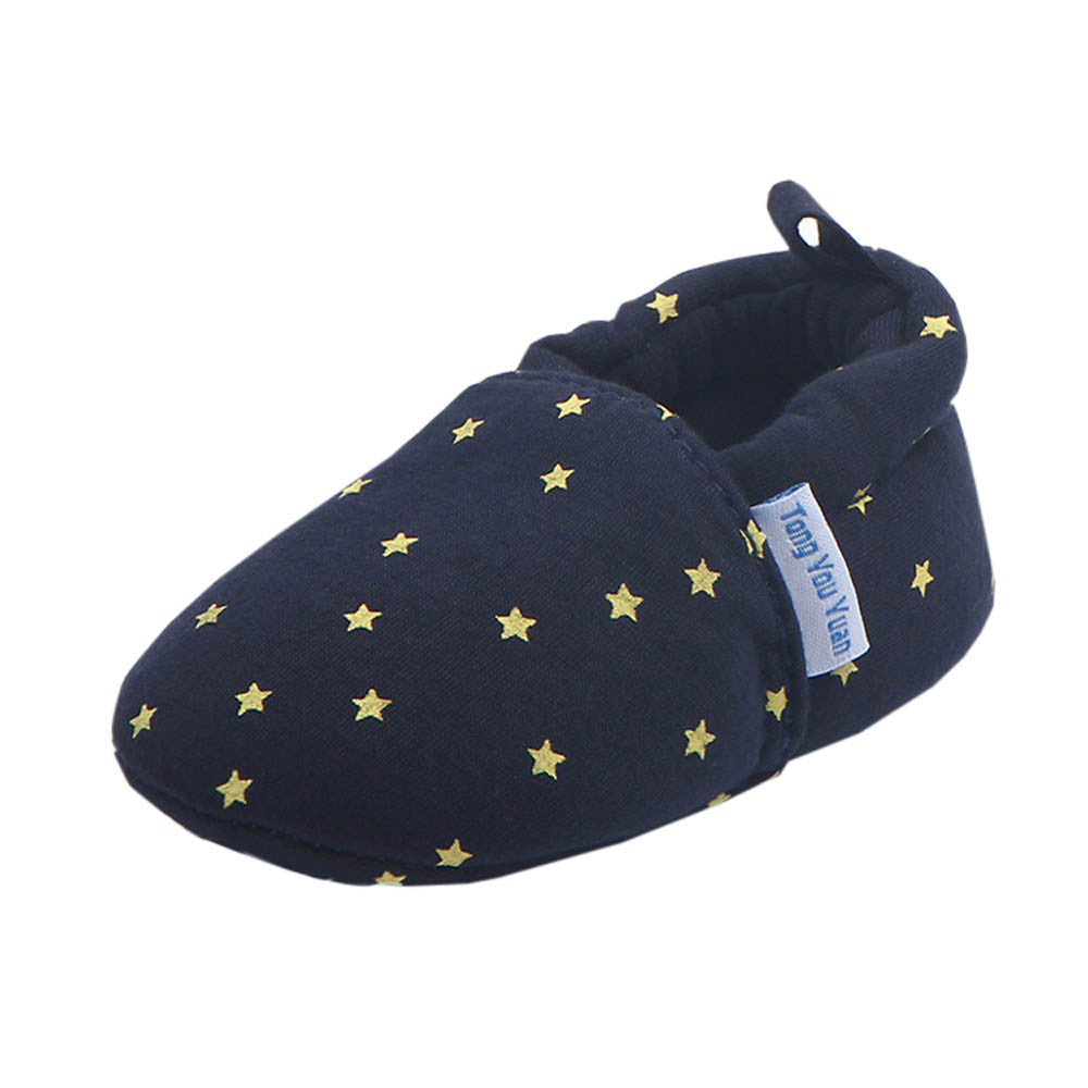 Newborn Baby First Walker Shoes Toddler Unisex Infant Girls Boy Star Print Anti-slip Slip-on Canvas Crib Shoes