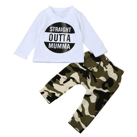 Newborn Infant Baby kids Boy 2017 Letter T shirt Tops Camouflage Pants Outfits Clothes Set boys clothing Roupas infantis menino