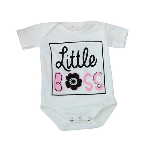 Baby Boys Tiny Cotton Rompers Girls Romper Infant Summer Shorts Sleeve Jumpsuit Letter BOSS Print 2017 New Toddlers Clothes