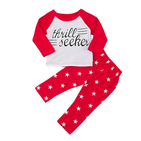 2pcs suit !!! Newest Newborn Baby Kids Boys Star Letter Print long sleeve Tops+Pants Fall Outfits