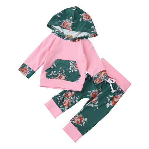 2pcs Toddler Infant Baby Boy Girl Clothes Set Floral Hoodie Tops+Pants Outfits Infantil Toddler girl Autumn Spring girls costume