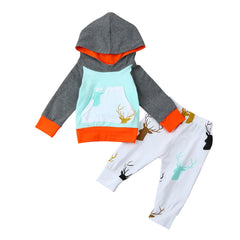 Baby Boys Girls Clothes Set Warm Outfits Tops Hoodie Top + Pant Leggings Cute Animals Deer Print Kids Baby Clothes