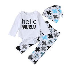 Newborn Toddler Girl Clothing Sets Hello World Print Romper+Pants+Hat 3 pieces Baby Clothes Set Infant Outfits for Baby Clothes