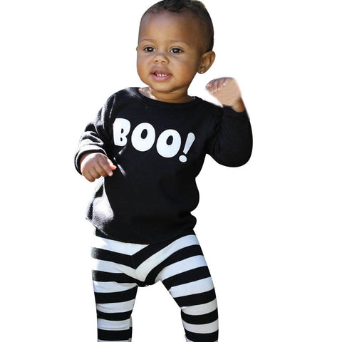 2PC Kids Clothes Suit Baby Boys Little Devil Blouse Top+Stripe Pants Halloween Outfits Set Tracksuit Kids Conjunto Menino