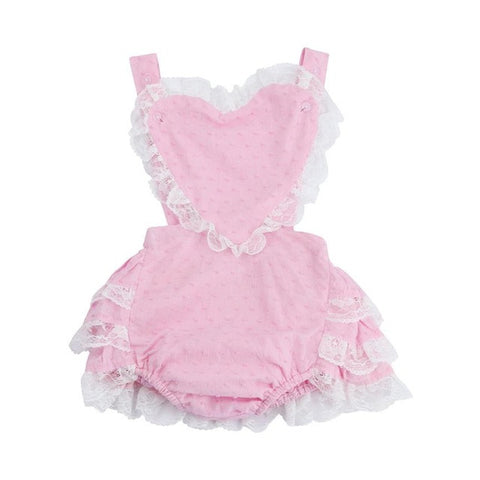 2017 Cute Newborn Infant Baby Girl Romper Summer Love Heart One Pieces Sunsuit Lace Backless Jumpsuit Toddler Kids Clothes