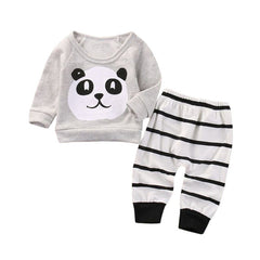2017 New Newborn Baby Girls Boys Panda Tops Shirt Stripe Pants 2PCS Outfits Set Clothes roupa de bebe vetement bebe garcon