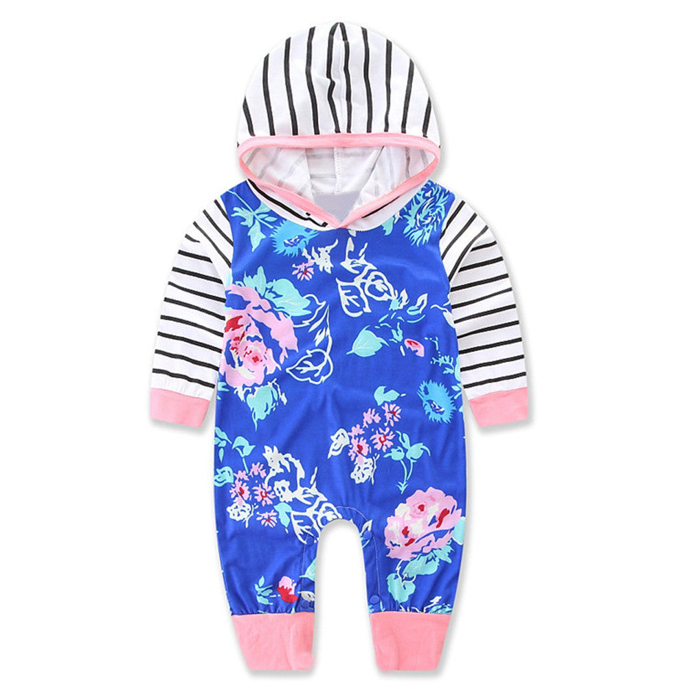 2017 Autumn baby girls boys long sleeve printed flower striped blue hooded rompers infant clothes spring kids