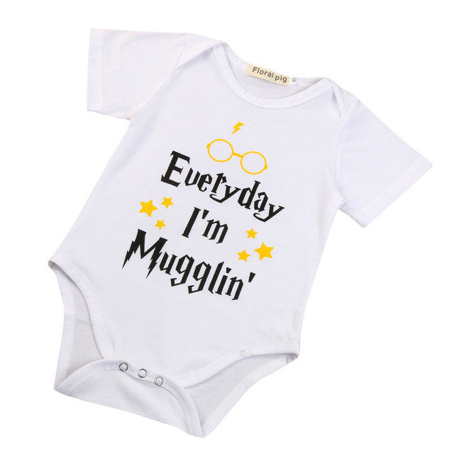 2017 Cotton Infant Baby Boy Girls Clothes Letter Print Toddler Casual Short Sleeve Romper Jumpsuit One-pieces