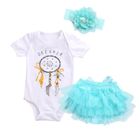 Summer 2017 Baby Girls Dreamcatcher Romper +Lace Tutu Skirt Party Tulle +Headband 3psc/Set Sunsuit Outfits