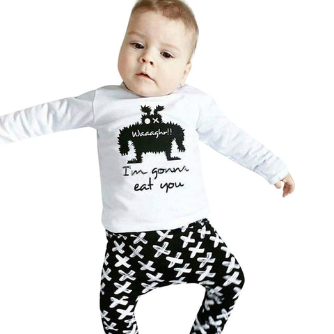 Autumn Newborn Baby Boy Girl Clothes Tops Letter Print Cotton T-shirt+Geometric Pants Leggings 2pcs Outfits Baby Set 6-24M