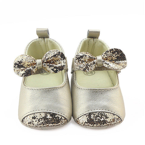 Casual Baby Girls Bow Leather Soft Soled Non-slip Footwear Crib Soft Bottom Anti-slip Bow Frist Walkers Sequined princess Shoes